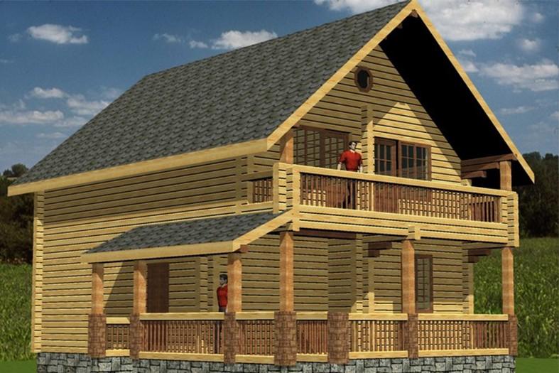 Проект #22: дом площадью 130 м2 - срубы из лафета норвежские.